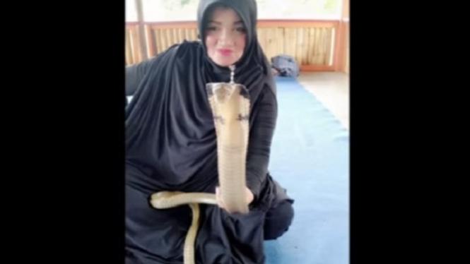 Ibu Iin penakluk king kobra