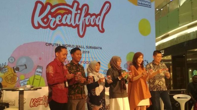 Pembukaan Kreatifood Expo di Ciputra World Mall Surabaya, Jawa Timur, pada Jumat, 12 Juli 2019.