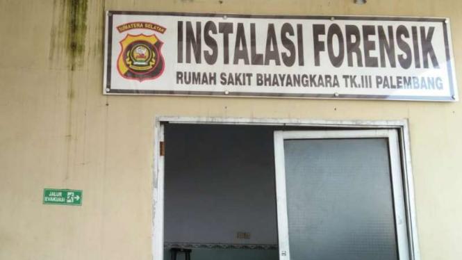 Ruang Instalasi Forensi Rumah Sakit Bhayangkara Palembang, Sumatera Selatan.