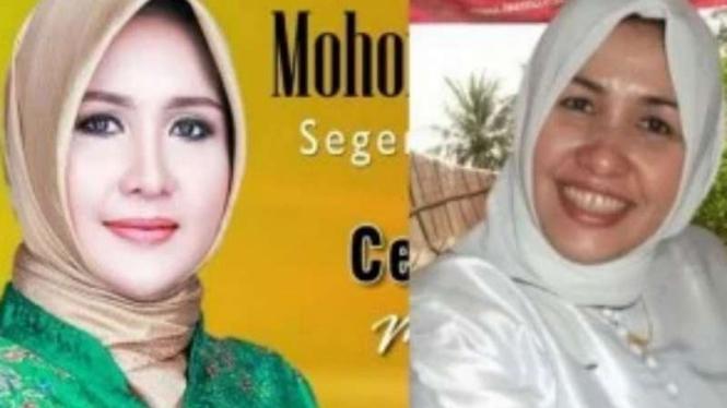 Foto caleg Evi yang diperkarakan Farouk Muhammad (kiri)