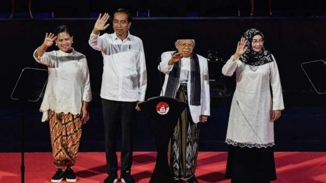 Presiden  Jokowi dan Wapres terpilih Ma'ruf Amin di Sentul 14 Juli 2019.