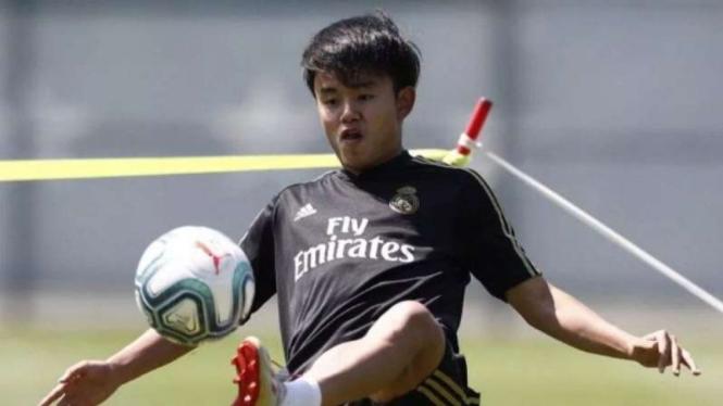 Takefusa Kubo dalam sesi latihan Real Madrid