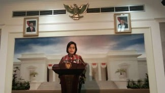 Menteri Keuangan Sri Mulyani di Kantor Presiden, Jakarta.