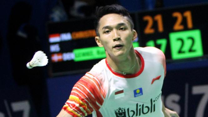 Aksi Jonatan Christie di ajang Blibli Indonesia Open 2019.