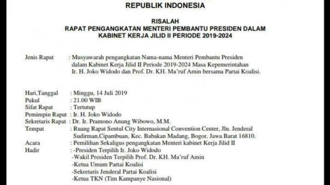 Draf isu liar susunan menteri Jokowi-Ma'ruf Amin