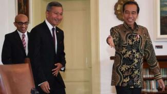 Presiden Jokowi terima kunjungan Menlu Singapura Vivian Balakrishnan di Istana Bogor.