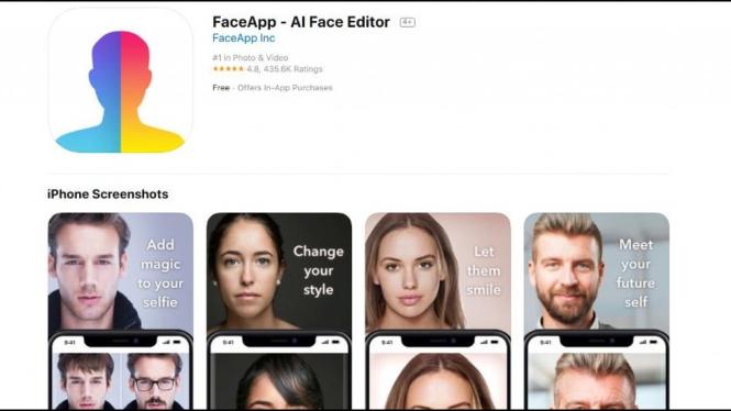 Tampilan halaman unduh FaceApp di App Store