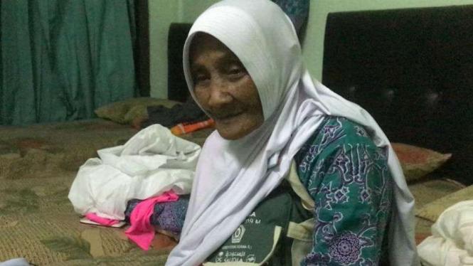 Sarmi Rukamin Majari atau Mbah Sarmi, jemaah haji lansia asal Tulungagung.