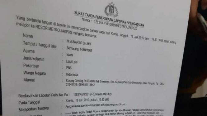 Surat laporan pengaduan pemukulan hakim