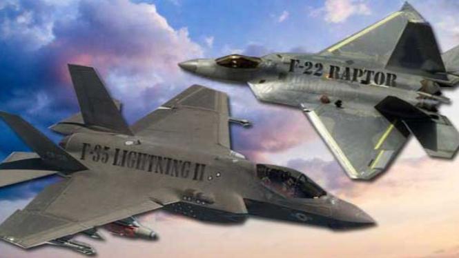 Ilustrasi: F-22 Raptor vs F-35 Lightning II.