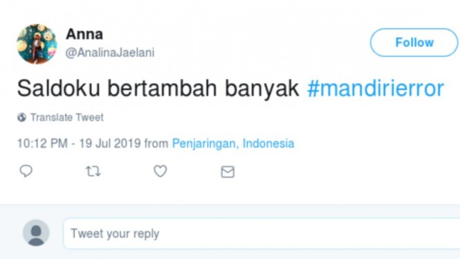Tagar Mandiri error jadi trending topic