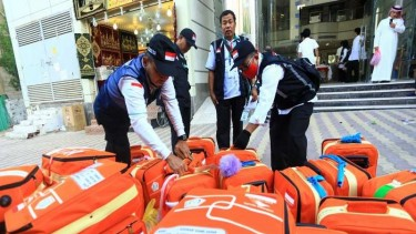 Tas koper barang bawaan jemaah haji UPG18 tiba di hotel