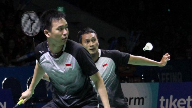 Mohammad Ahsan/Hendra Setiawan di final Indonesia Open 2019.