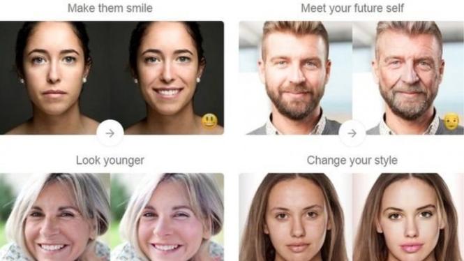 FaceApp menawarkan beragam fitur perubahan wajah. - FACEAPP