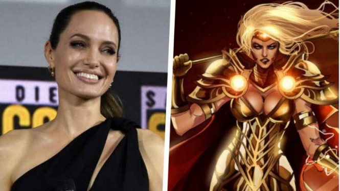 Angelina Jolie dan karakter yang ia perankan di The Eternals, Thena.