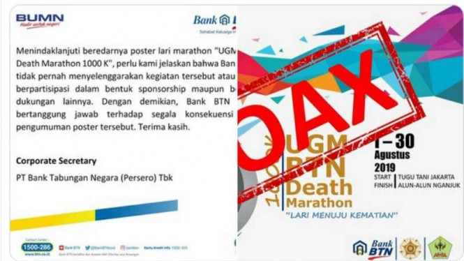 Poster lari marathon bertuliskan 'UGM BTN Death Marathon' hoax