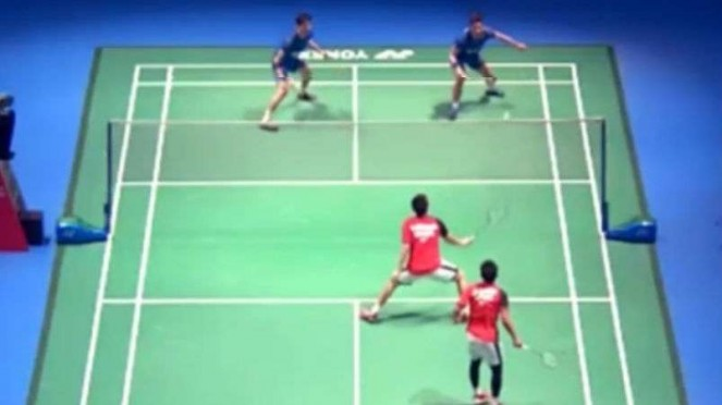 Ahsan/Hendra vs Ko/Shin di Japan Open 2019.