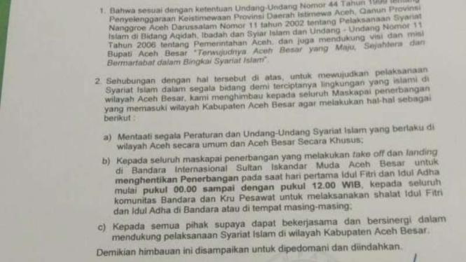 Surat larangan bagi Bandara Sultan Iskandar Muda (SIM) beroperasi pada Idul Adha