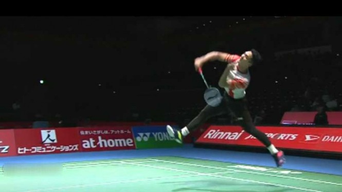 Jonatan Christie vs Anders Antonsen di Japan Open 2019.