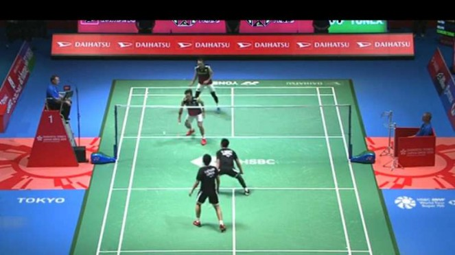 Ahsan/Hendra vs Takeshi/Keigo di Japan Open 2019.