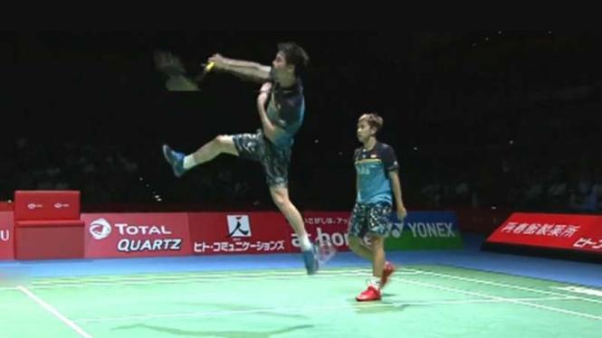 Kevin Sanjaya Sukamuljo/Marcus Fernaldi vs Li/Liu di Japan Open 2019.