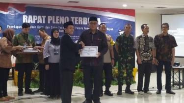 Rapat pleno terbuka penetapan perolehan kursi dan calon terpilih hasil pemilu 2019 untuk DPRD Kota Depok, Jawa Barat, Minggu, 28 Juli 2019.