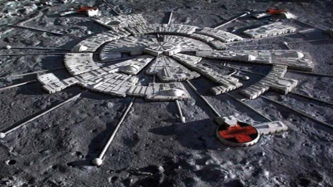 Ilustrasi pangkalan di Bulan.