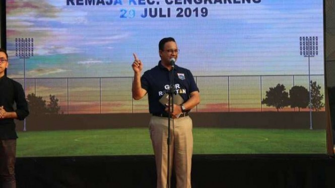 Gubernur DKI Jakarta Anies Baswedan meresmikan GOR Rorotan.