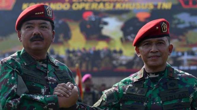 Panglima TNI Marsekal Hadi Tjahjanto dan Komandan Koopssus Brigjen Rochadi