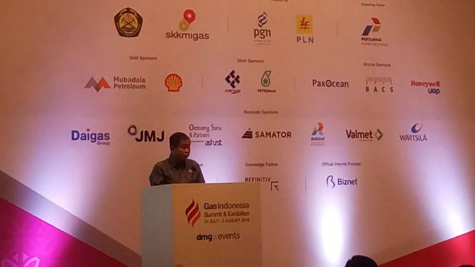 Menteri ESDM Ignasius Jonan di acara Gas Indonesia Summit and Exhibition 2019.