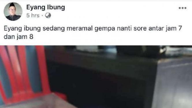 Salah satu cuitan Eyang Ibung di akun Facebooknya.
