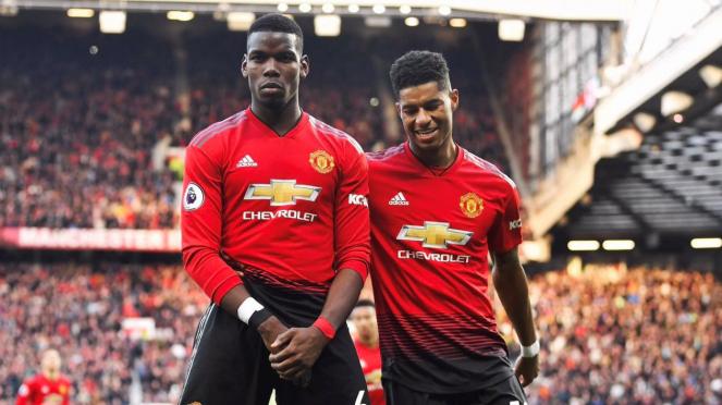 Pemain Manchester United, Paul Pogba dan Marcus Rashford (kanan)