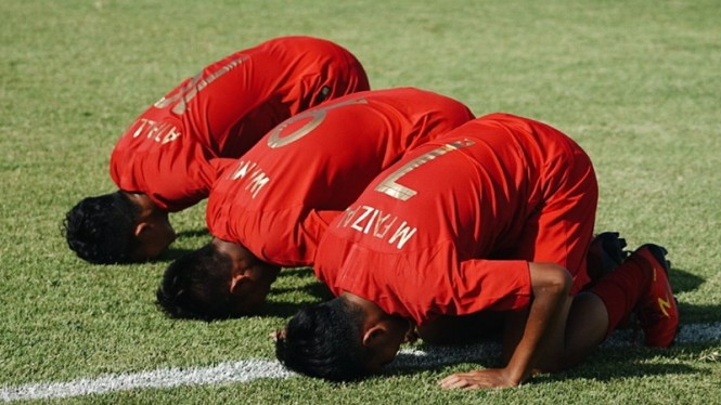 Selebrasi gol pemain Timnas Indonesia U-15