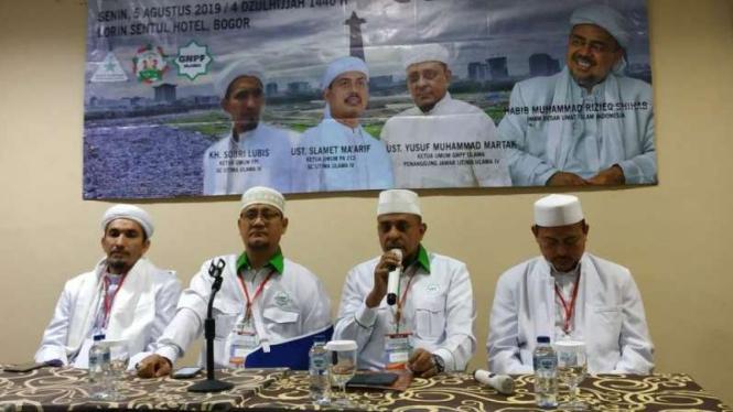 Gerakan Nasional Pengawal Fatwa (GNPF) Ulama gelar konferensi pers.