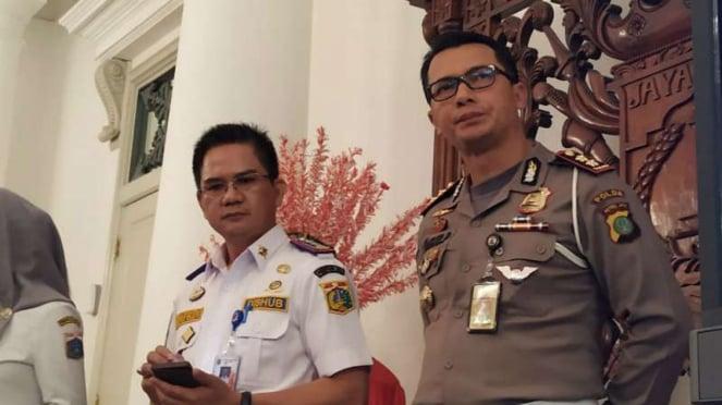 Kepala Dinas Perhubungan DKI Syafrin Liputo dan Wadirlantas Polda Metro Jaya AKBP I Made Agus Prasetya