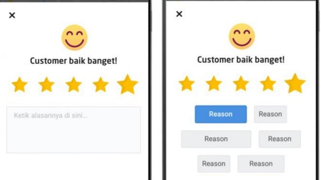 Rating pelanggan di Gojek
