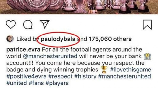 Bintang Juventus, Paulo Dybala memberi like di Instagram Patrice Evra