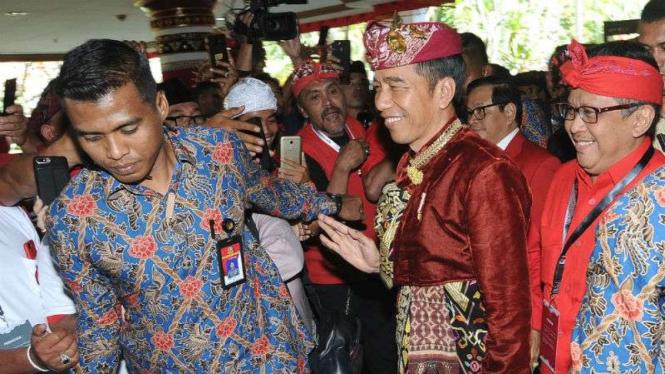 Presiden Jokowi menghadiri Kongres ke V PDI Perjuangan di Bali.
