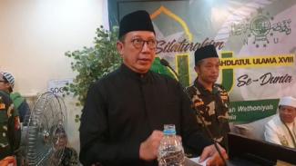 Menteri Agama Lukman Hakim Saifuddin berpidato di Silaturahmi NU di Mekah