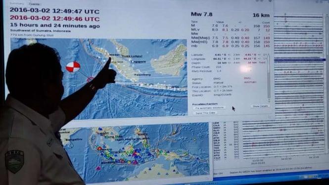 (Ilustrasi) Petugas BMKG di pusat pemantauan gempa bumi.