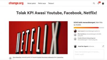Petisi Tolak KPI awasi YouTube, Facebook dan Netflix.