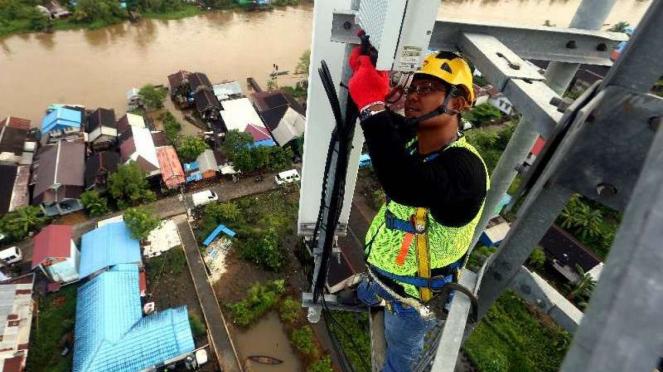 Menara BTS XL Axiata area Kalimantan Selatan.