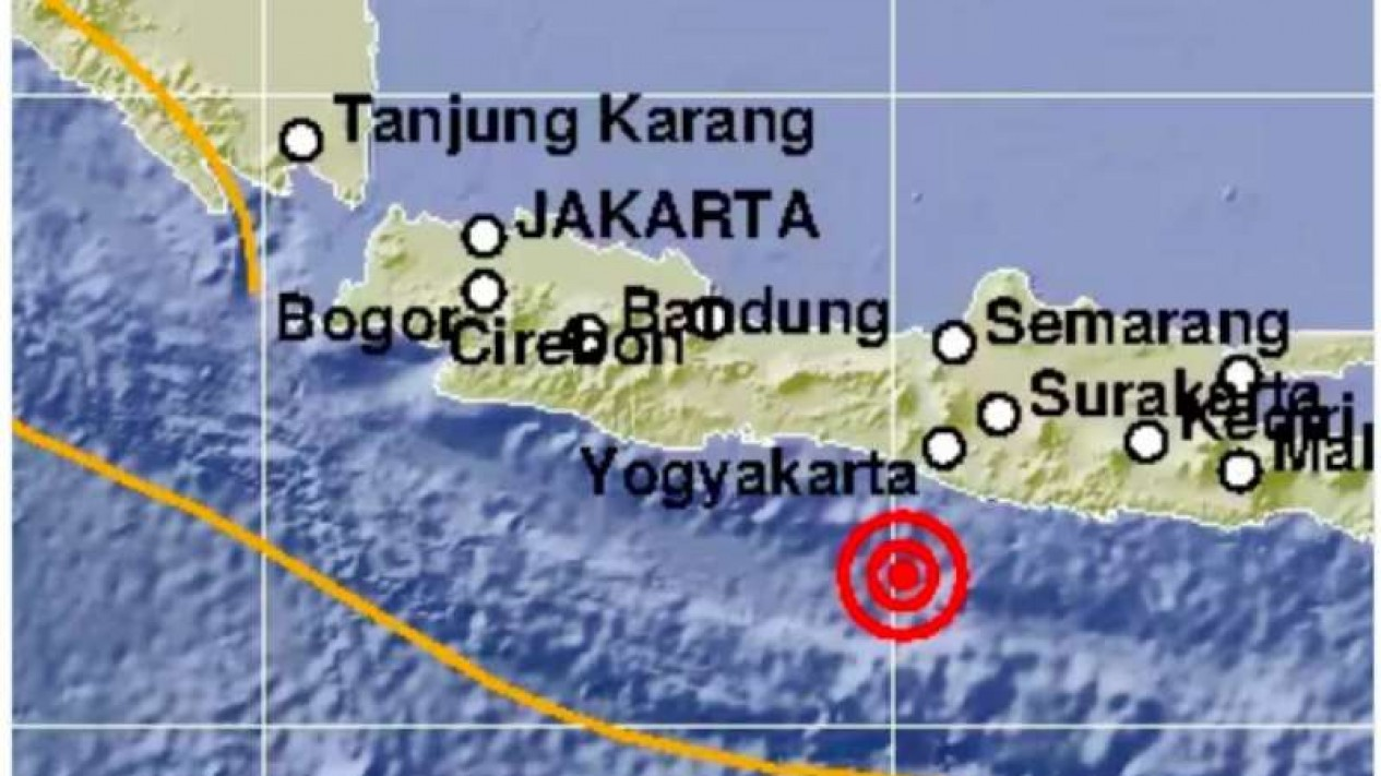 Gempabumi dilaporkan mengguncang wilayah Kabupaten Bantul, Daerah Istimewa Yogyakarta