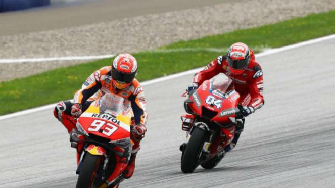 Adu cepat Marc Marquez dan Andrea Dovizioso di MotoGP Austria