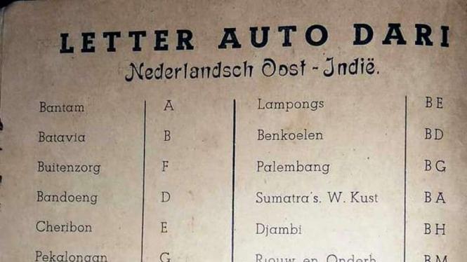 Sejarah pelat nomor di Indonesia