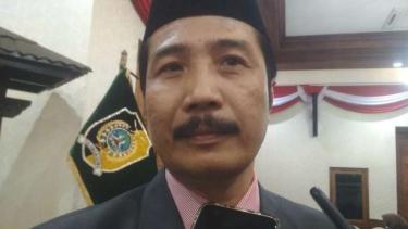 Ketua DPRD Tulungagung Supriyono dan Bupati Tulungagung Maryoto Birowo di Gedung Negara Grahadi Surabaya, Jawa Timur, pada Selasa, 13 Agustus 2019.