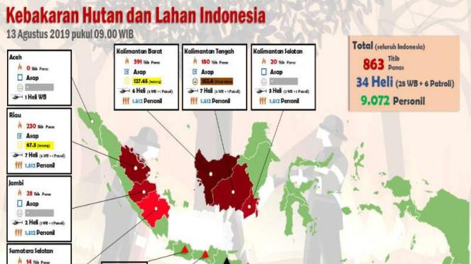 Peta titik-titik kebakaran hutan dan lahan Indonesia