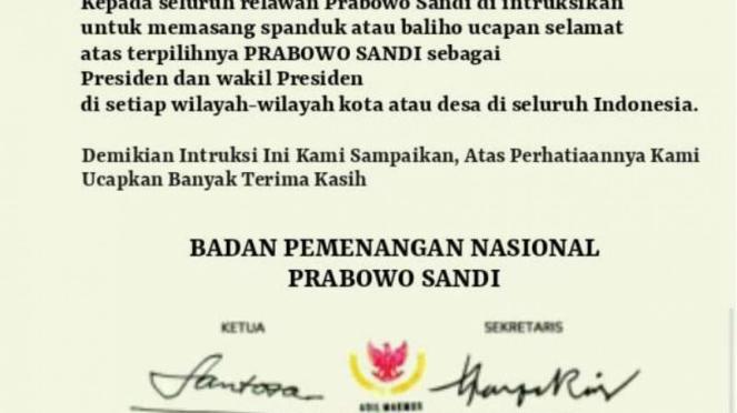 Hoax, surat instruksi dari tim Prabowo-Sandi untuk pasang spanduk.