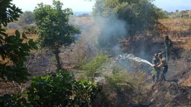 TNI membantu padamkan kebakaran hutan di Bima, NTB.