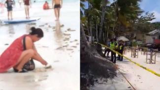 Turis kubur popok di pasir pantai